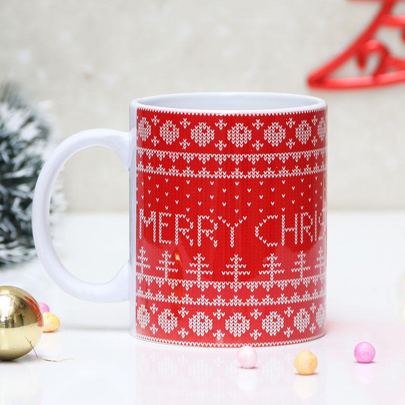 Red Theme Christmas Coffee Mug