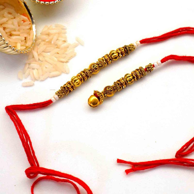 Red Thread and Gold Designer Rakhi To USA Online