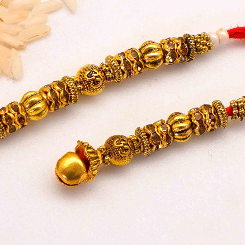 Red Thread and Gold Designer Rakhi To USA Online Close View