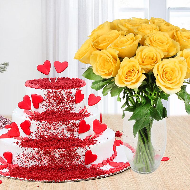 Red Velvet Felicitation - A combo gift of 3 tier red velvet cake and yellow roses