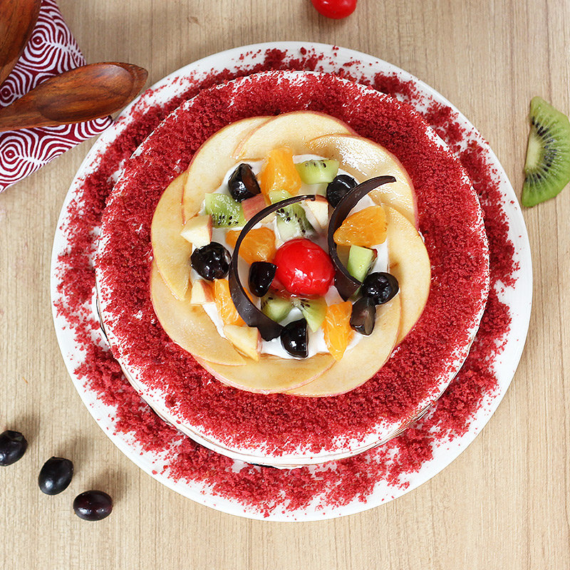 Flavorous Red Velvet Cake - Top View