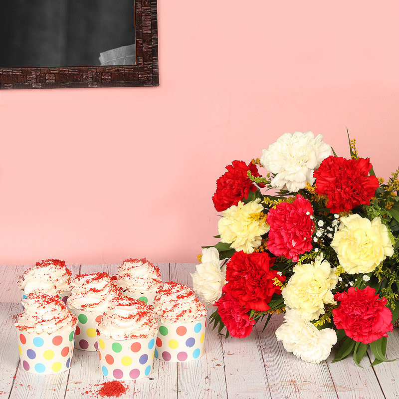 Reddish Cream Combo - Bunch of 12 Mixed Carnations with 6 Red Velvet Cup Cakes