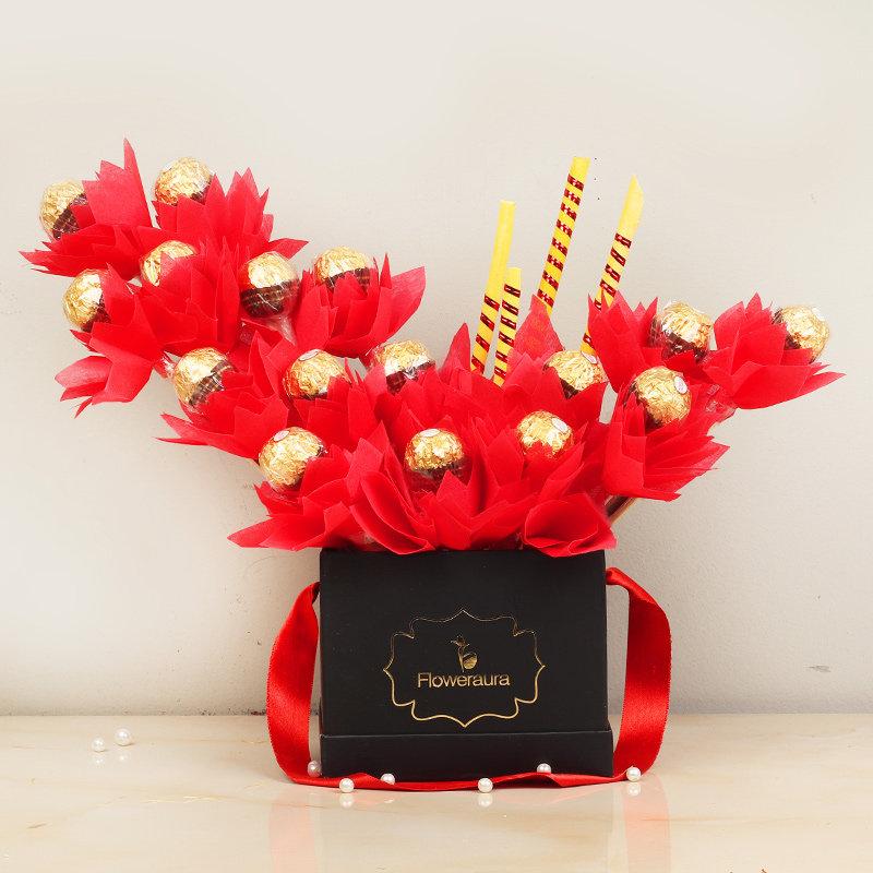 Regal Rocher Bouquet - 16 Ferrero Rochers in Black Floweraura Box
