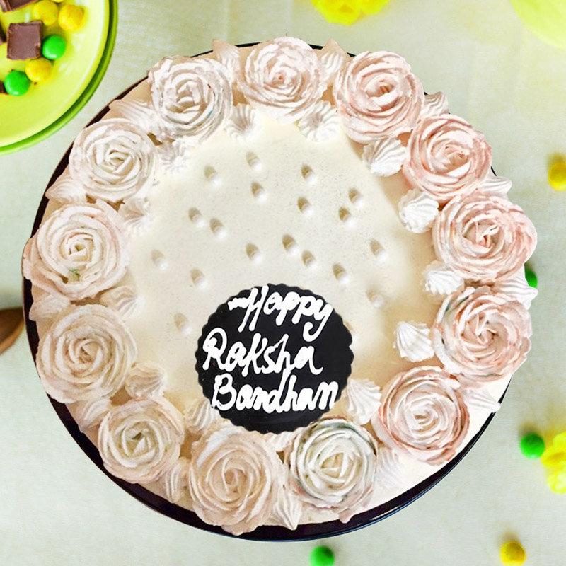 Raksha Bandhan Cream Cake with Rakhi