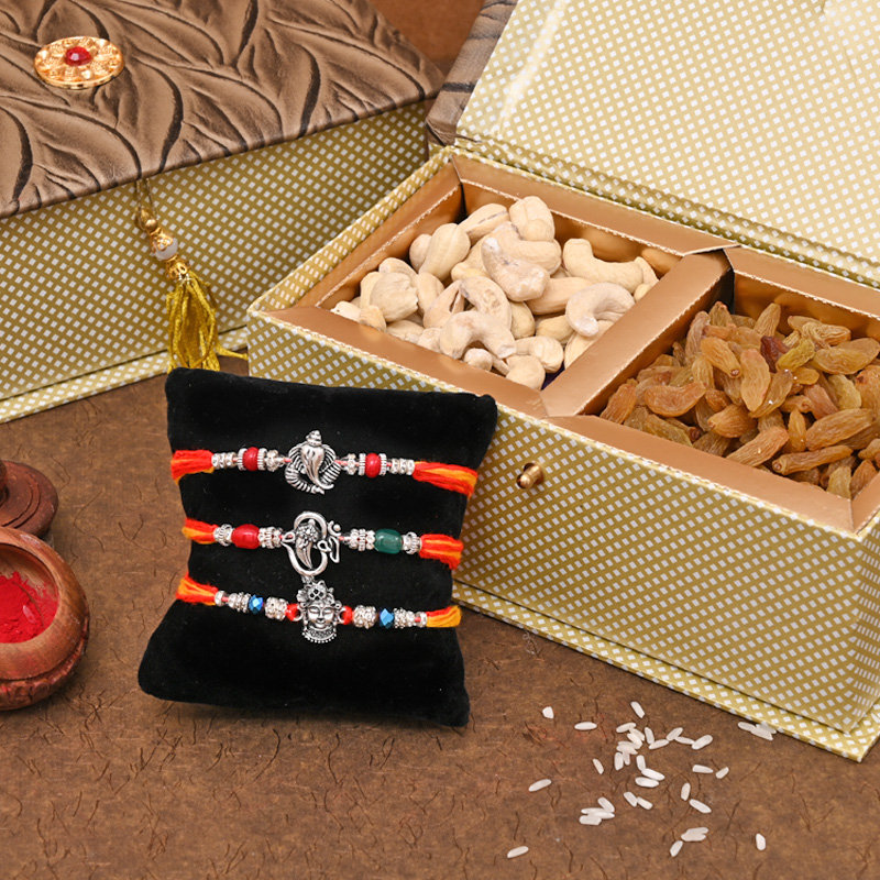 Set of 3 Designer Rakhi Premium Box - Rich Rakhi Signature Box