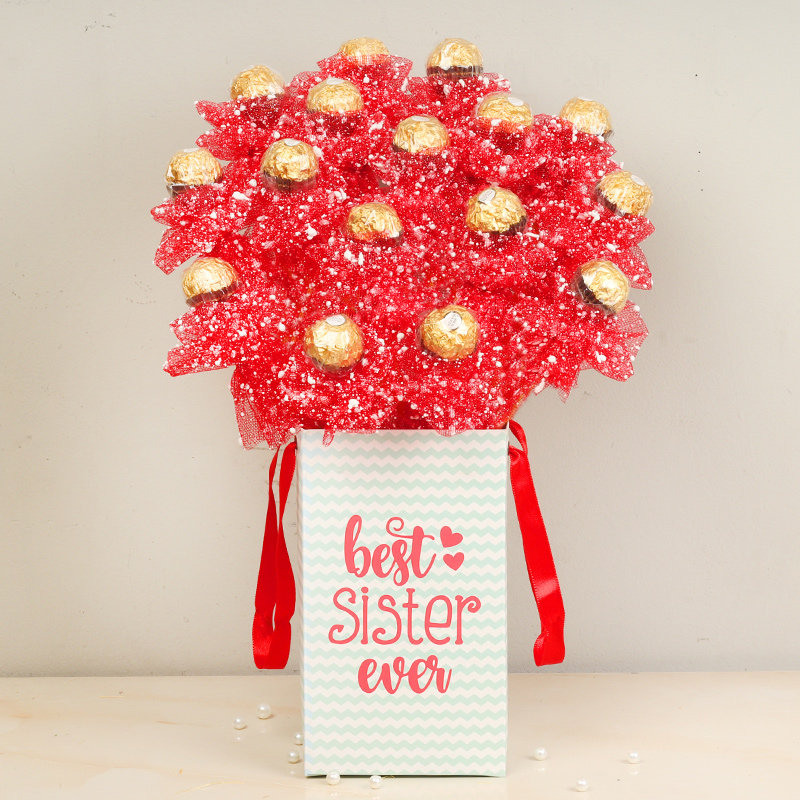 Rocher Bouquet For Best Sis - 16 Ferrero Rochers in Chocolate Box for Sister