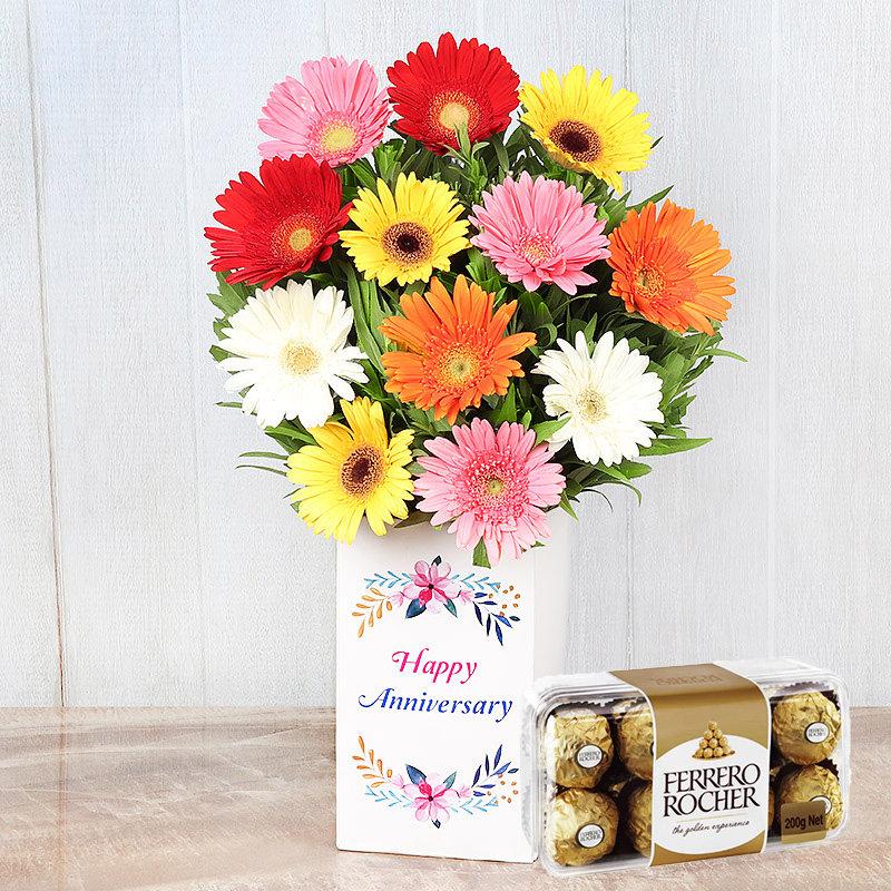 Rocher N Mix Gerberas Anniversary Combo - Bunch of 12 Mixed Gerberas with Anniversary Flower Box and Pack of 16 Ferrero Rochers