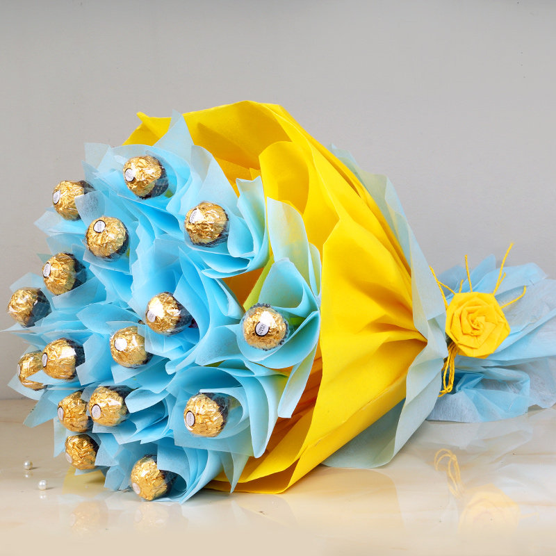 Rochers Symphony - Bouquet of 16 Ferrero Rochers in Blue and Yellow Paper Packing