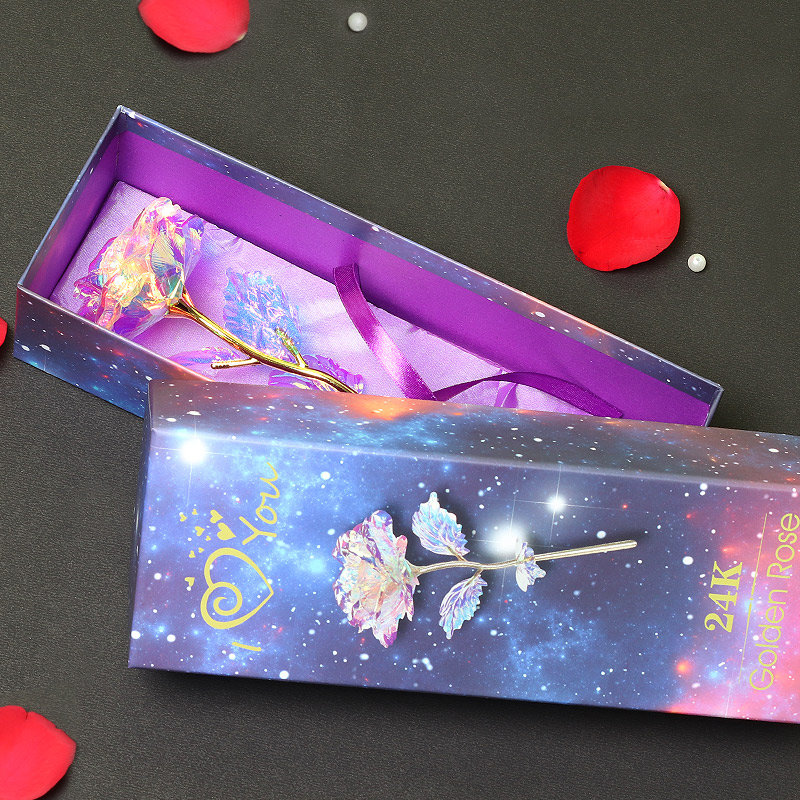 Multicolored Artificial Rose in Colorful Box