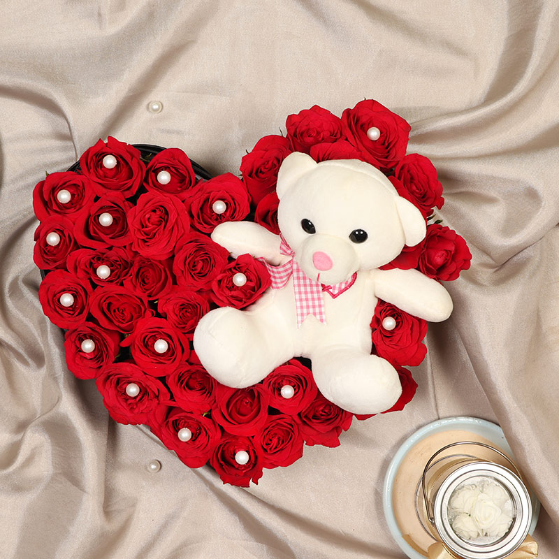 Teddy Day Gift - Heart Shaped Roses with Teddy