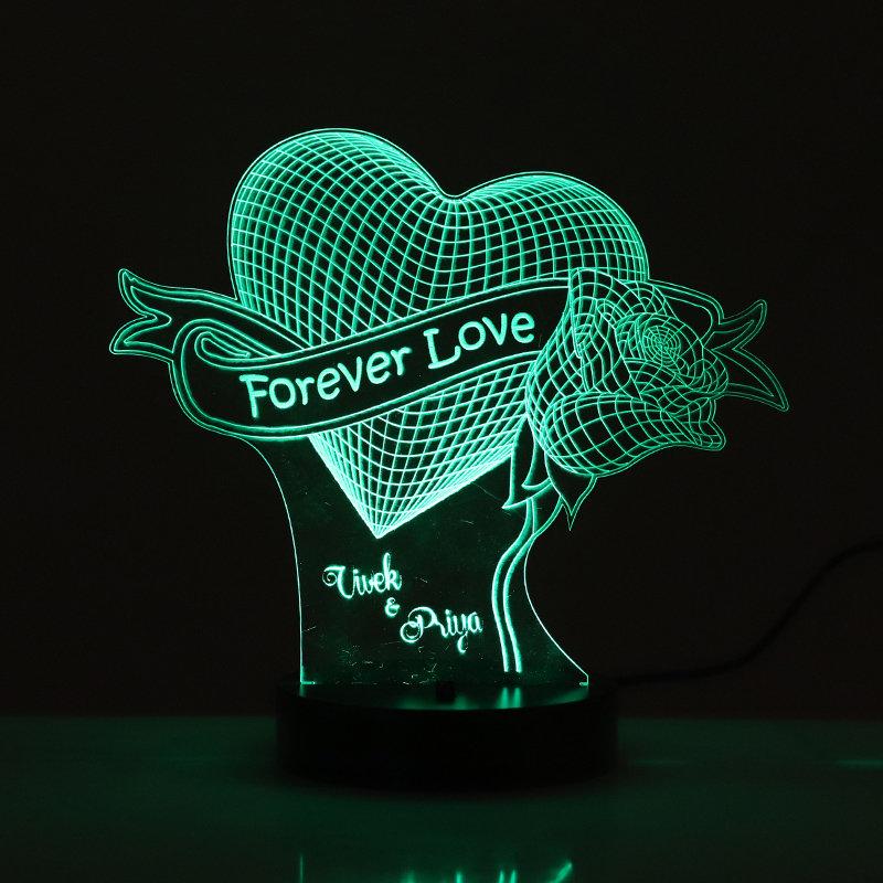 Rose And Heart Forever Love Led Lamp
