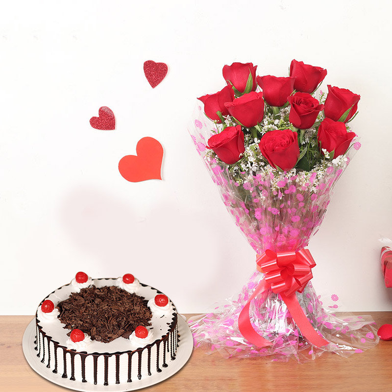 Rose Delicious Delight - Bunch of 10 Red Roses with 1 Kg Black Forest Cake