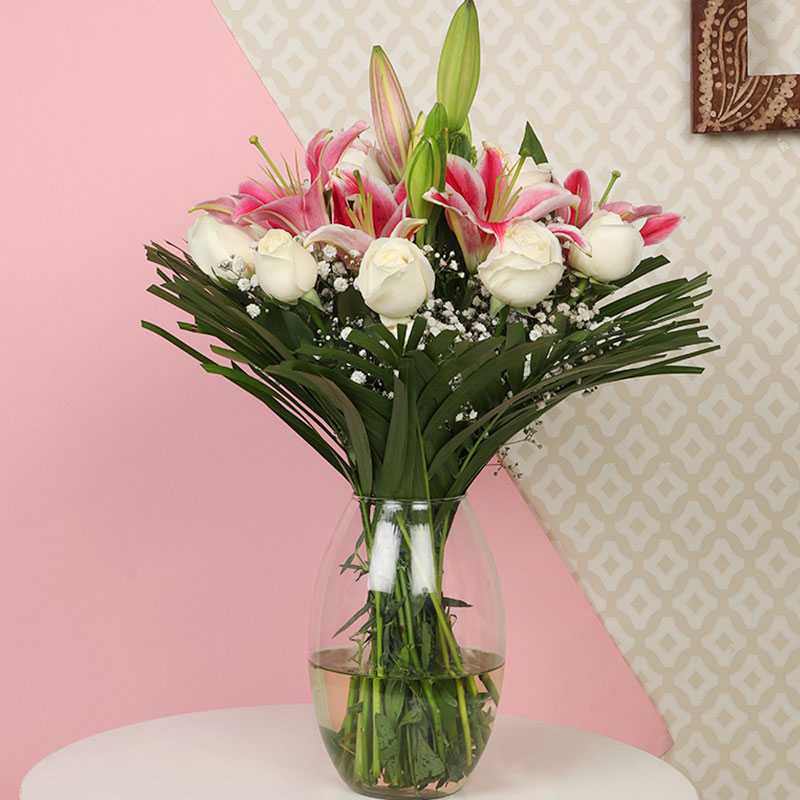 Rose Lily Glass Vase Combo