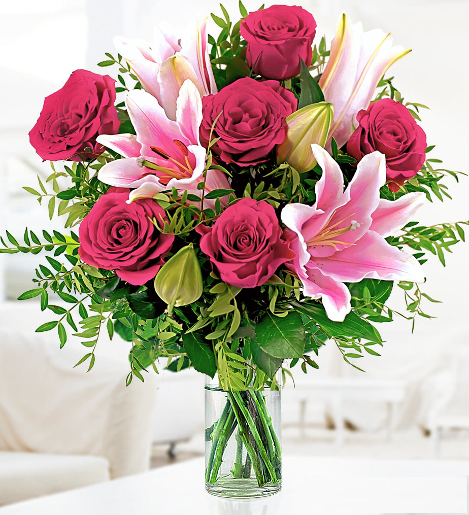 Vase Full Roses With Pink Lilies