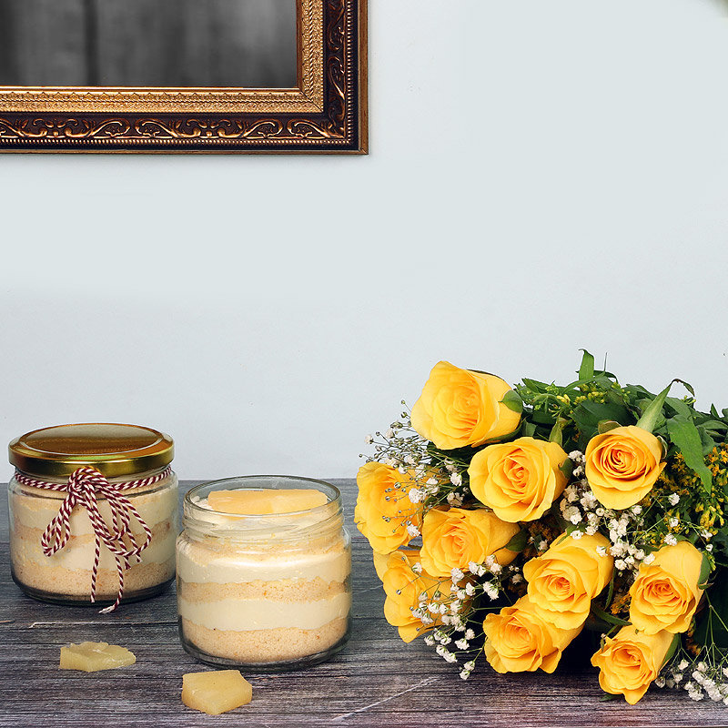 Roses Forever - Bunch of 12 Yellow Roses with 2 Pineapple Jar Cakes