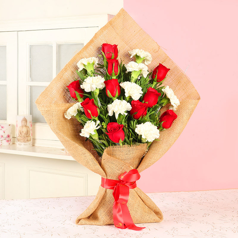 Roses N Carnation Bouquet - Bouquet of 10 Red Roses and 10 White Carnations with Jute Packing