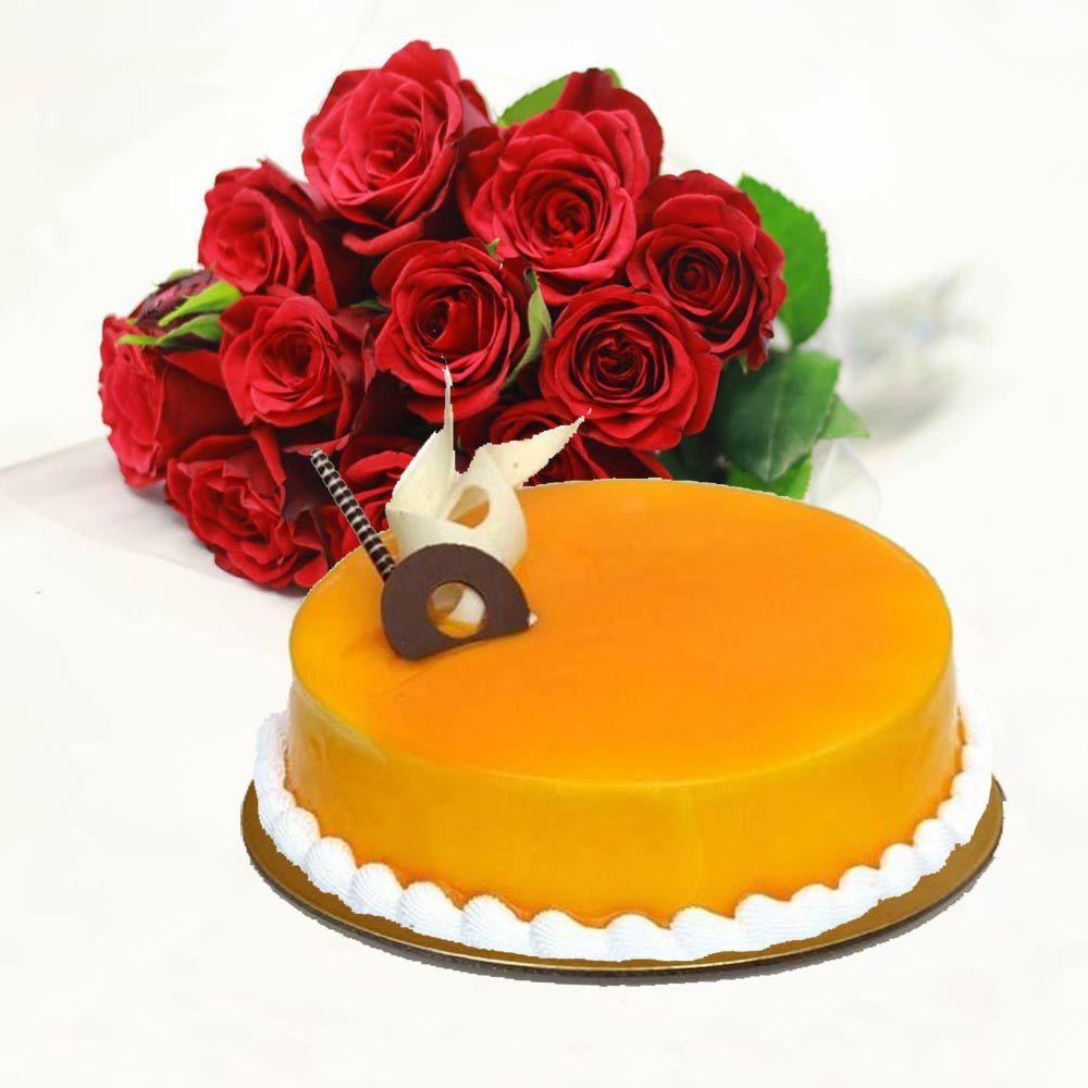 Red Roses With Orange Cake