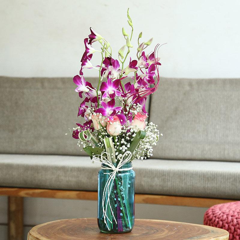Roses N Orchids Glass Vase