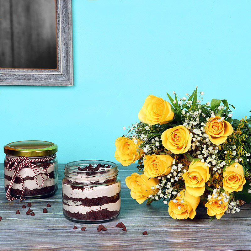 Roses With Jar Cake Combo - Bunch of 12 Yellow Roses with 2 Choco Chip Jar Cakes
