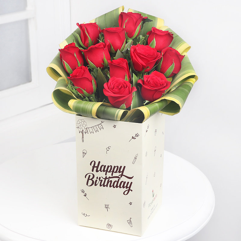 12 Red Roses in Floweraura Happy Birthday Box