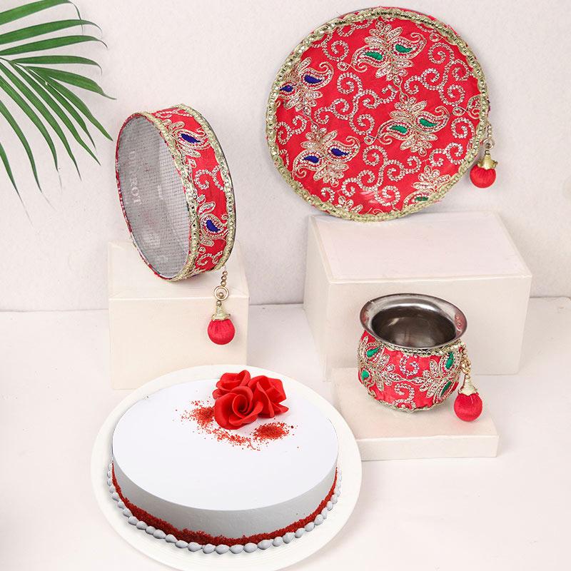 Rosy Cake And Sargi Thali