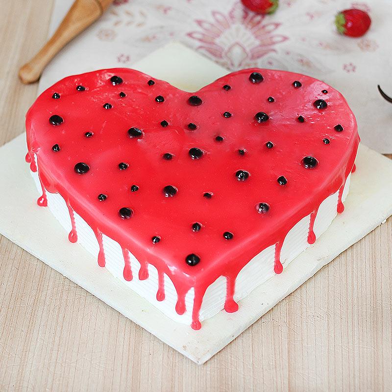 Heart Shaped Strawberry Vanilla Cake