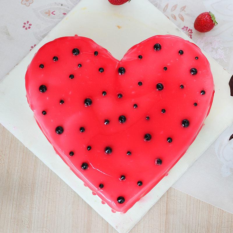 Heart Shaped Strawberry Vanilla Cake - Top View