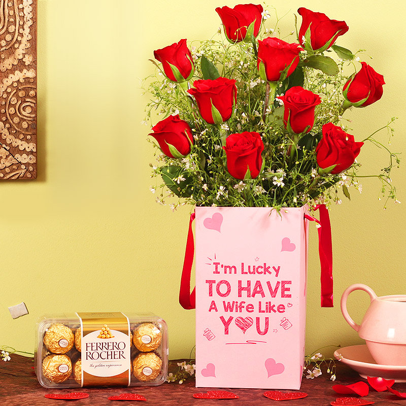 Roses Box With Chocolates For Wife