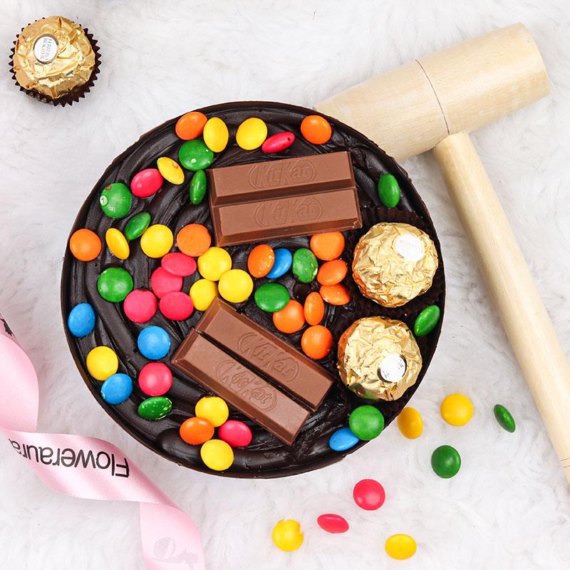 Online Round Choco Pinata Cake for Birthday