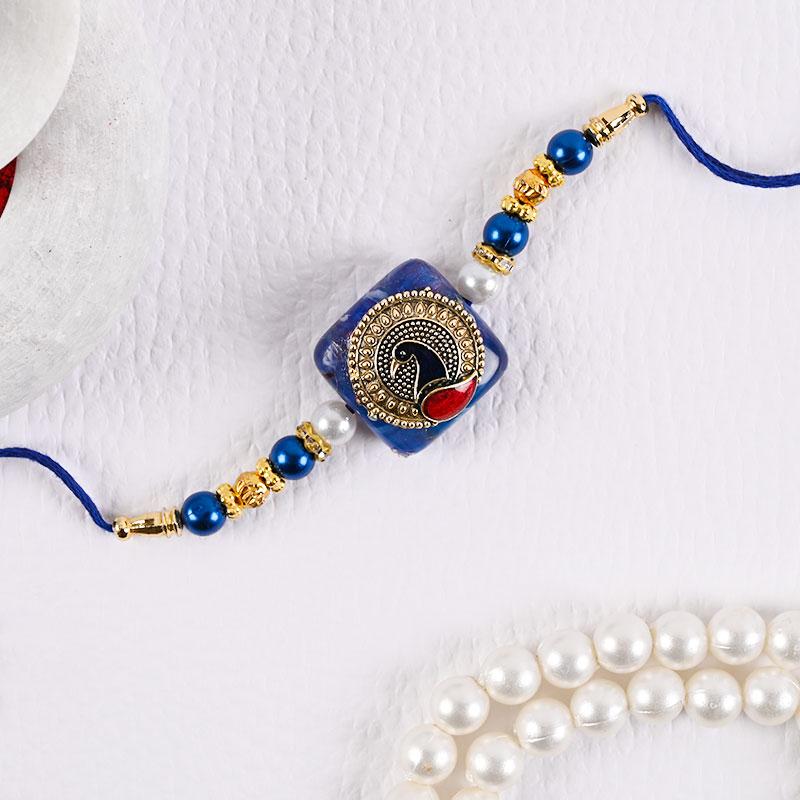Royal Blue Peacock Rakhi - Peacock rakhi