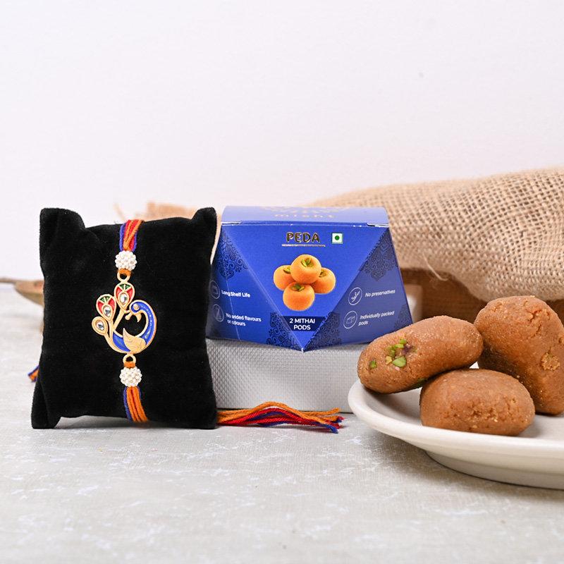 Royal Mayur Rakhi With Peda