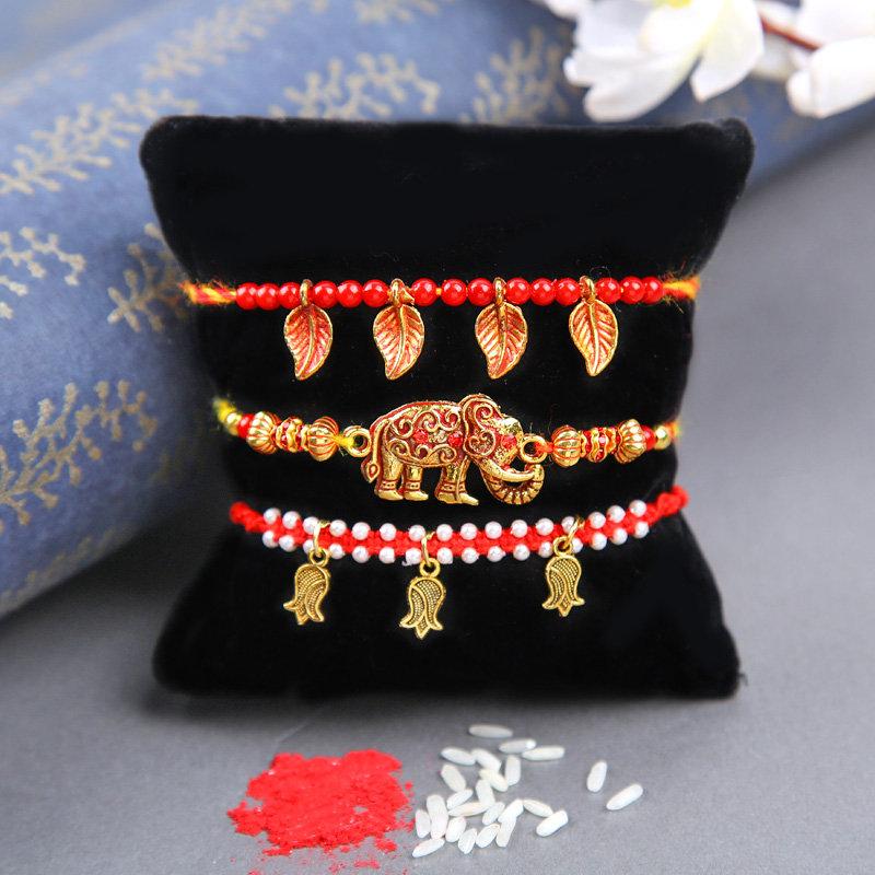 Royal Red Charm Rakhi Trio