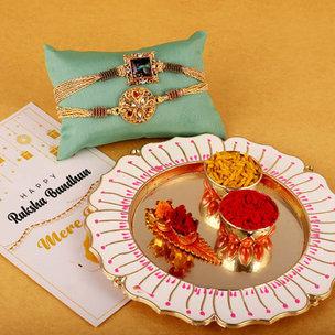 Royalty Rakhi And Thali Combo