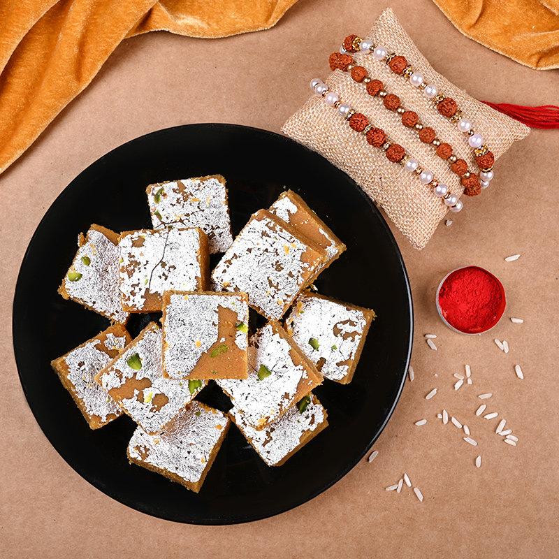 Rudrakha Rakhi Triplet N Sweets
