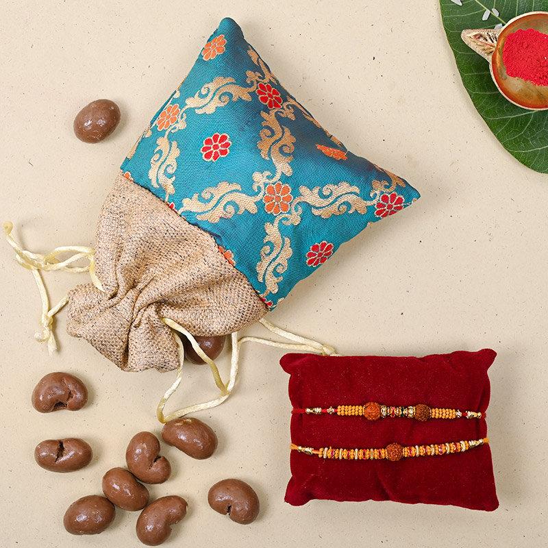 Set of 2 Designer Rakhi - Rudraksha Choco Rakhi Pack