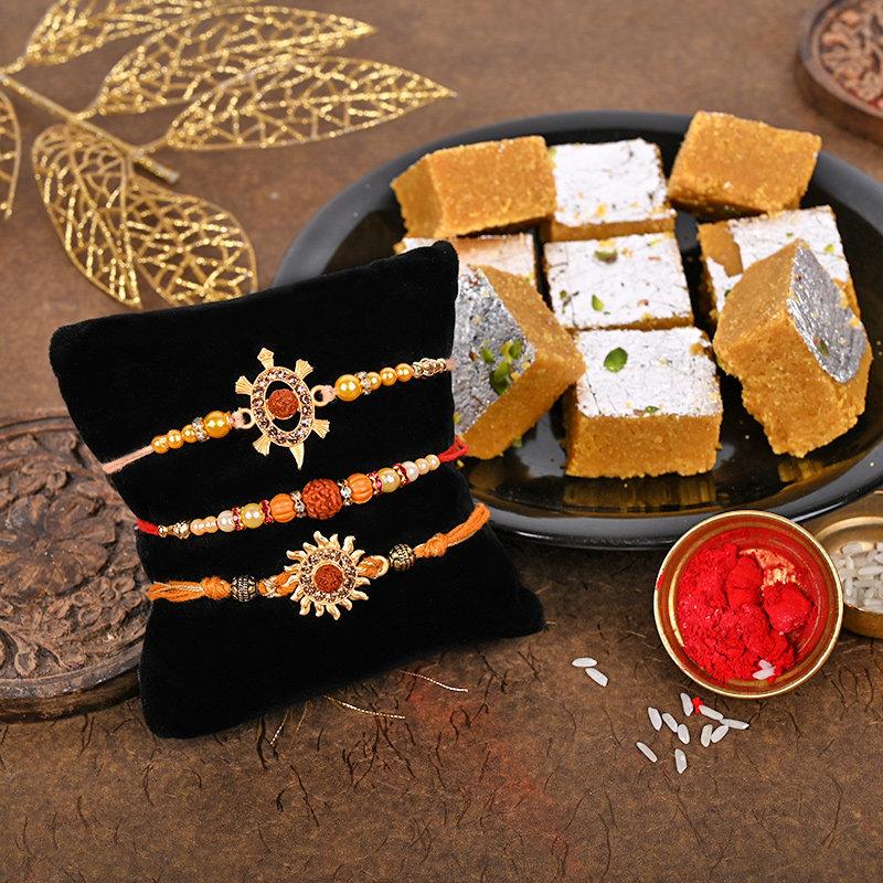 Rudraksha Rakhi Besan Barfi Set