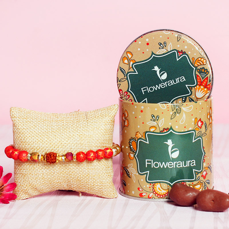 Rudraksha Rakhi Choco Combo - One Rudraksh Rakhi with Complimentary Roli and Chawal and 100gm Choco Almonds in Metallic Container
