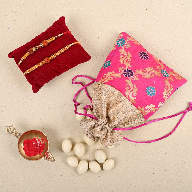 Set of 2 Designer Rakhi - Rudraksha Rakhi Rabri Nuts Combo