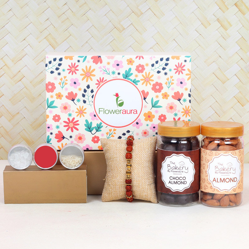 Rudraksha Signature Box - One Rudraksh Rakhi with Complimentary Roli and Chawal and 100gm Almonds in Plastic Container and 100gm Choco Almonds in Plastic Container and One Floweraura Signature Box