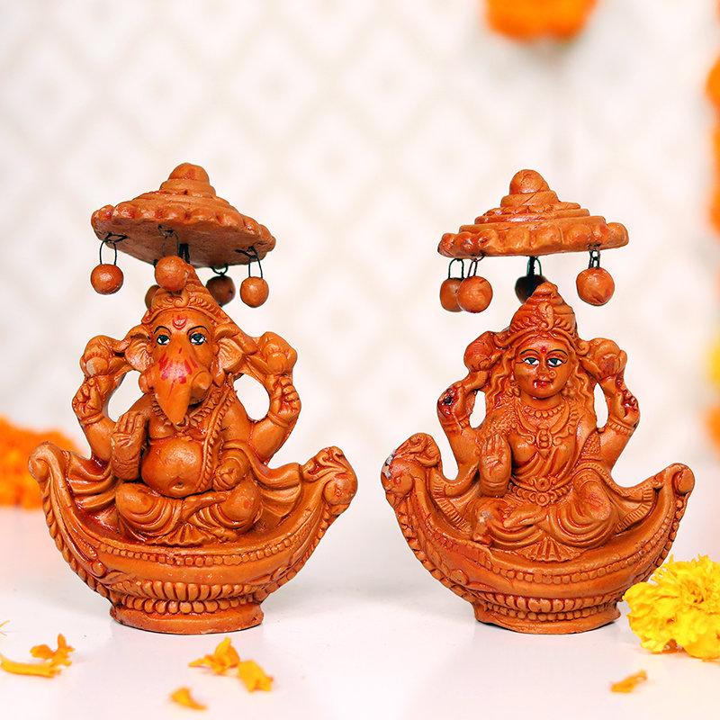 Rustic Laxmi Ganesha Idols