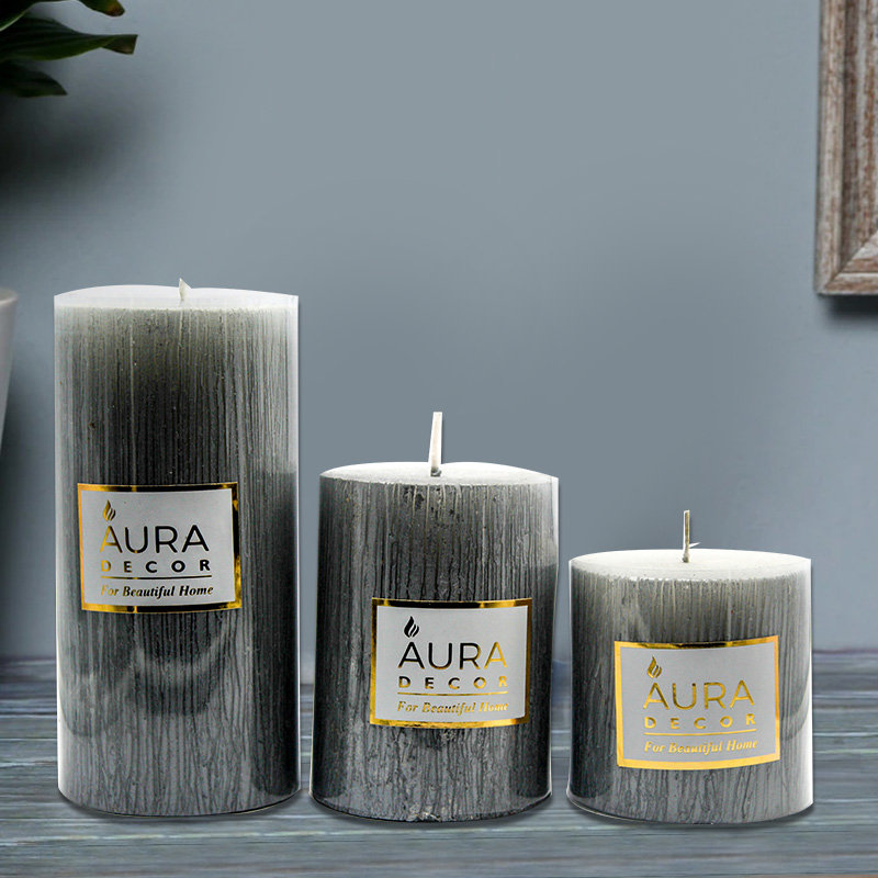 Unscented Rustic Silver Finish Pillar Candle Set