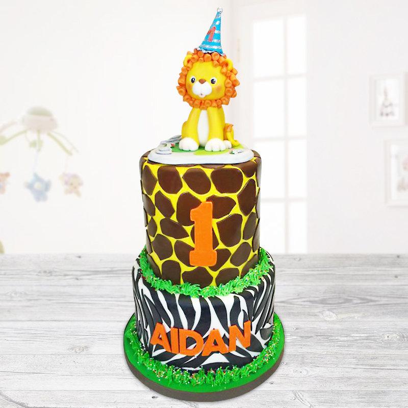 Safari fondant cake for children