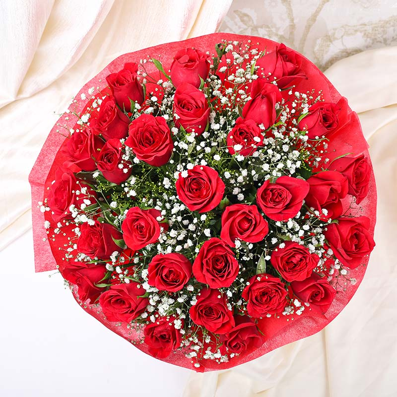 Bunch of 30 Red Roses for Valentines Day Gift