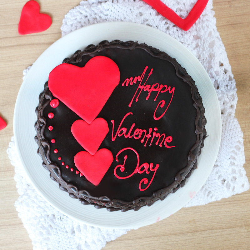 Choco truffle cake with 3 hearts for valentine - Top View