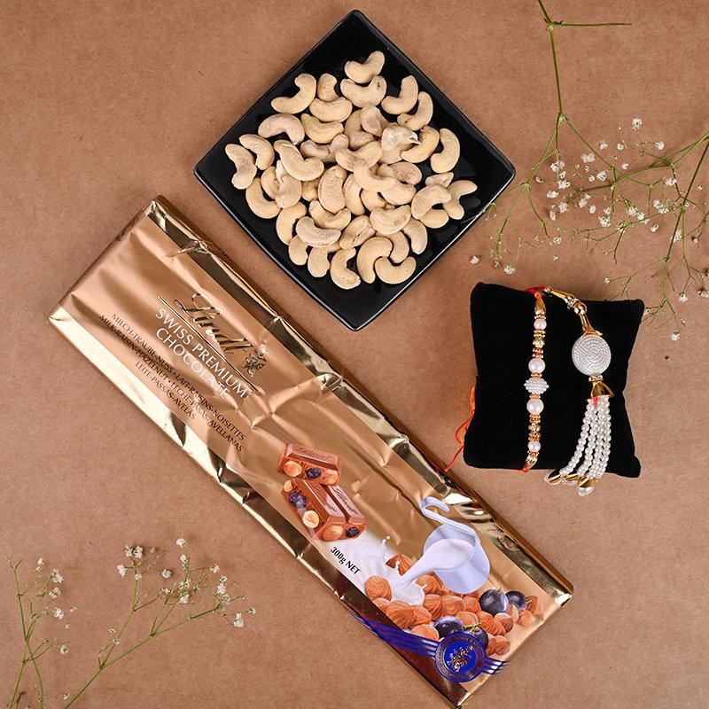 Serene White Beads Rakhi Combo