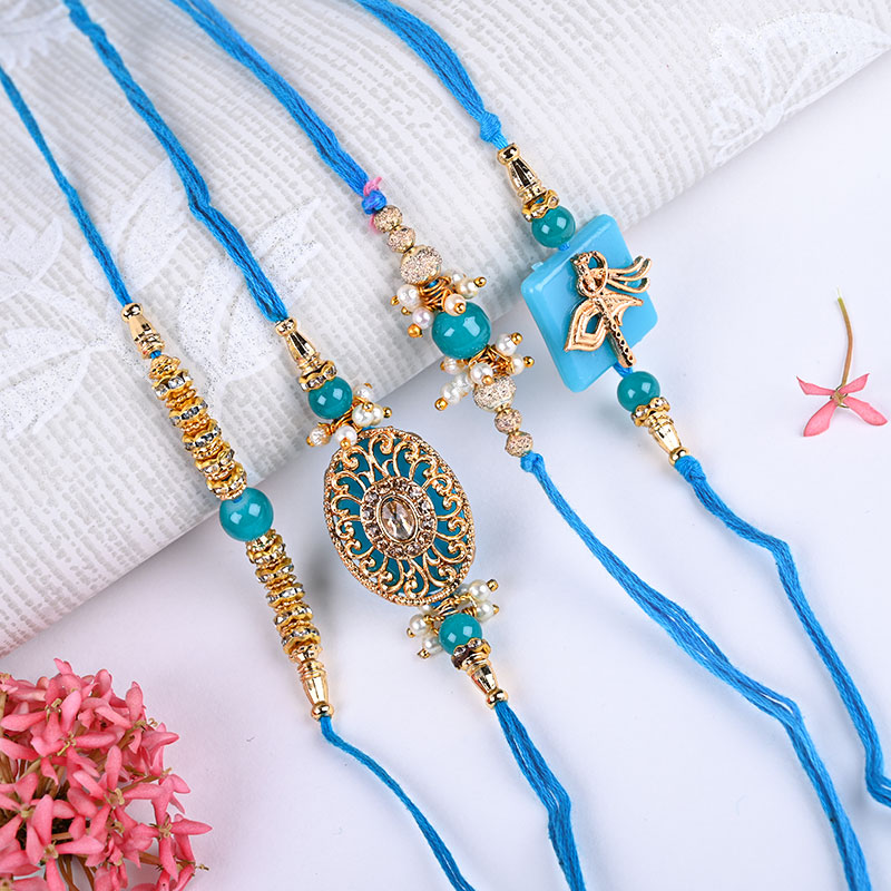 Set Of 4 Blue Rakhi Combo - Premium Rakhi, Traditional, Pearl Rakhi, Diamond rakhi