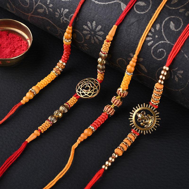 Set Of 4 Divine Rakhis - Set of 4 Designer Rakhi