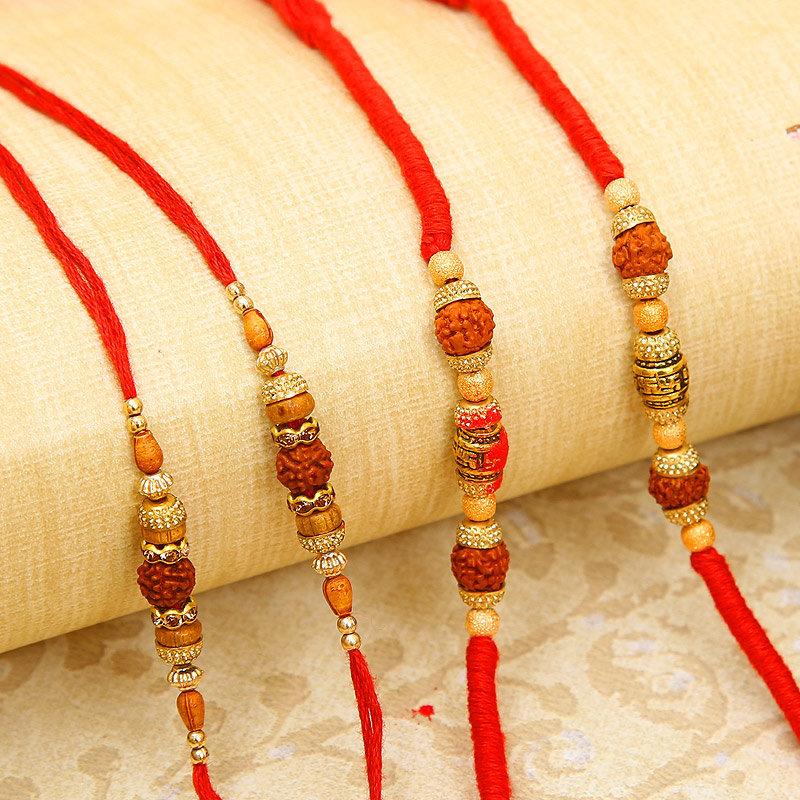 Set Of Four Rudraksha Rakhis