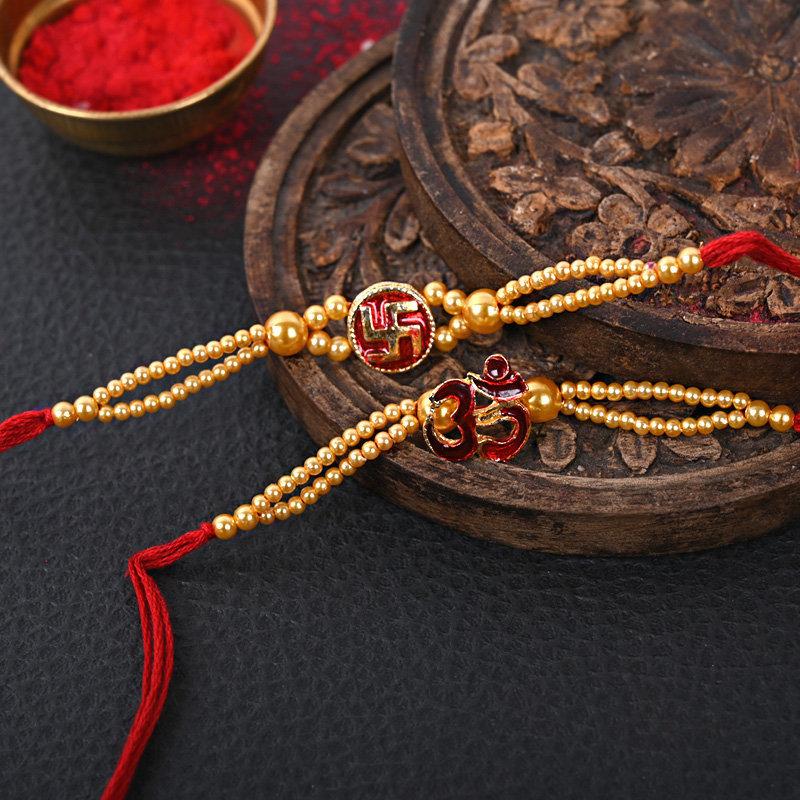 Set Of 2 Designer Rakhi - Set Of Two Holy Rakhi Set