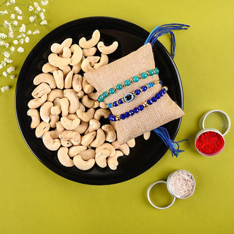 Shades Of Blue Rakhi Set With Cashews